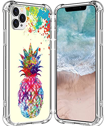 for iPhone 13 Pro Max Case Pineapple/IWONE Designer Durable Protective Cover Shockproof Compatible with iPhone 13 Pro Max 5G Colorful Creative Painting Cute Pineapple Fruit Color Art Design