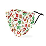 Weddingstar 3-Ply Adult Winter Washable Cloth Face Mask Reusable and Adjustable with Filter Pocket - Retro Ornaments