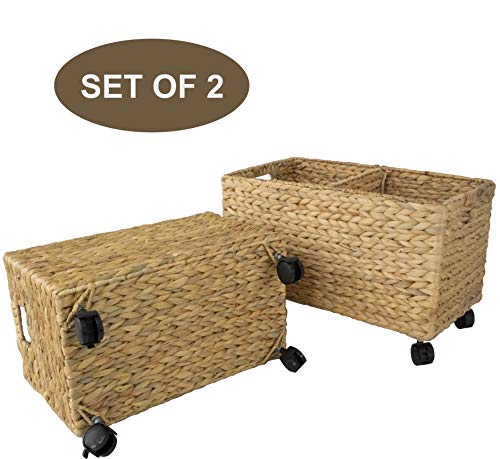 Made Terra Set 2 of Seagrass and Water Hyacinth Storage Baskets on Wheels | Straw Wire Woven Wicker Baskets for Kitchen, Pantry, Home Organization and Decor (Water Hyacinth (Fishbone Weaving))