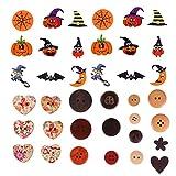 MILISTEN 150 Piezas Botones de Halloween Botones de Costura de Madera Botones de Novedad Adornos para Manualidades Bricolaje Scrapbooking Costura Costura de Tarjetas