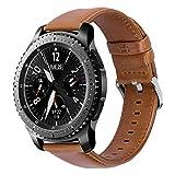 iBazal 22mm Cinturino Pelle Banda Cuoio Compatibile con Samsung Galaxy Watch 3 45mm/Gear S3 Frontier Classic SM-R760,Galaxy Watch 46mm SM-R800,Huawei GT/2 Classic,TicWatch PRO Uomo Band - Marrone