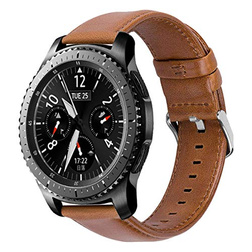 iBazal 22mm Armband Leder Uhrenarmband Lederarmband Armbänder Ersatz für Samsung Galaxy Watch 3 45mm/Galaxy 46mm, Gear S3 Frontier/Classic,Huawei GT/2 Classic,Ticwatch Pro Herren Bands - Braun