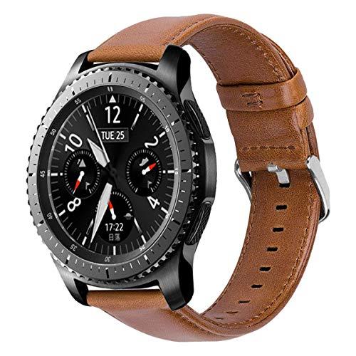 iBazal 22mm Cinturino Pelle Banda Cuoio Compatibile con Samsung Gear S3 Frontier Classic SM-R760,Galaxy Watch 46mm SM-R800,Huawei GT/2 Classic/Honor Magic,TicWatch PRO Uomo Orologio Band - Marrone