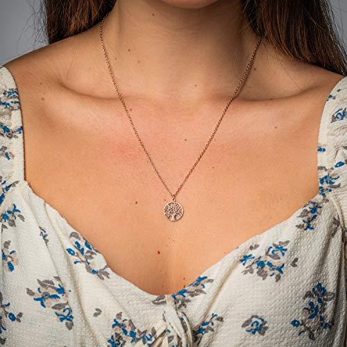 Made by Nami Filigrane Damen-Halskette mit Anhänger - Rosé-Gold Edelstahl - Feine Handmade Halskette als Geburtstags-Geschenk - zum Valentinstag, Weihnachten & Jahrestag (Rosé-Gold Lebens-Baum)