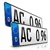 schildEVO 2 Kfz Kennzeichen | 420 x 110 mm | DIN-Zertifiziert – EU Wunschkennzeichen mit individueller Prägung | PKW Nummernschilder | Kurze Autokennzeichen...
