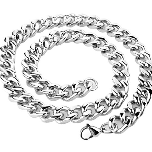 Mejor Fashion Mens Necklace Silver Stainless Steel Curb Cuban Chain 9mm,11mm,13mm,15mm Width;16-40 inch Length (18, 15mm) crítica 2020