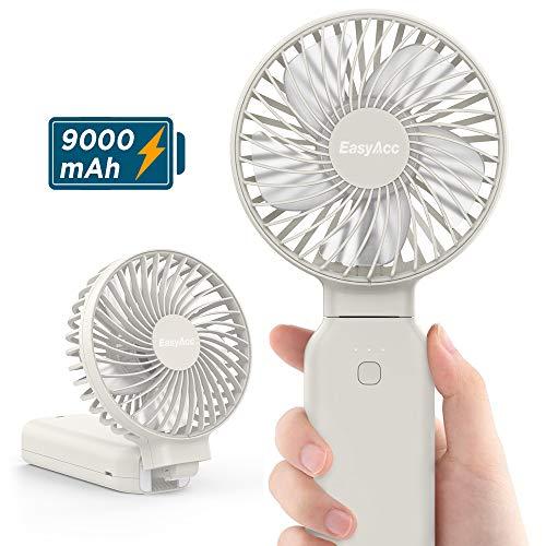 EasyAcc 2020 Ventilador de Mano Ventilador portátil Ventilador de Viaje para Exteriores con un Toque Apagado Recargable 9000mAh Mango Plegable Escritorio para hogar y Viajes - Blanco