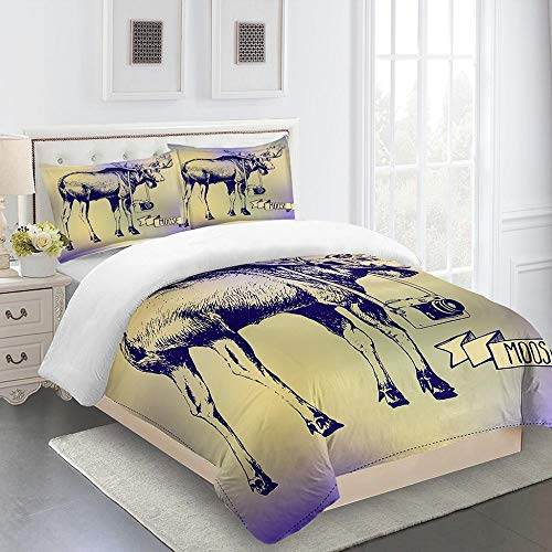 RYQRP Super King Duvet Cover Set Deer Animal Printed Quilt Cover Bedding Set 3pcs with Zipper Closure in 100% Polyester for Children Kids Teens Adults, 1 Quilt Cover 260x220cm with 2 Pillowcases