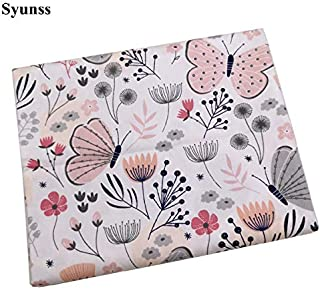 Syunss Pink Butterfly Grid Printed Cotton Fabric DIY Tissue Patchwork Telas Sewing Baby Toy Bedding Quilt Tecido The Cloth...