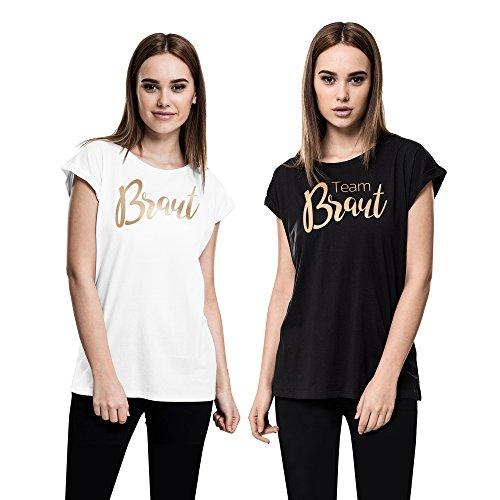 Cold & Heartless Damen Oversize JGA T-Shirt Team Braut (M, Team Braut - Schwarz)
