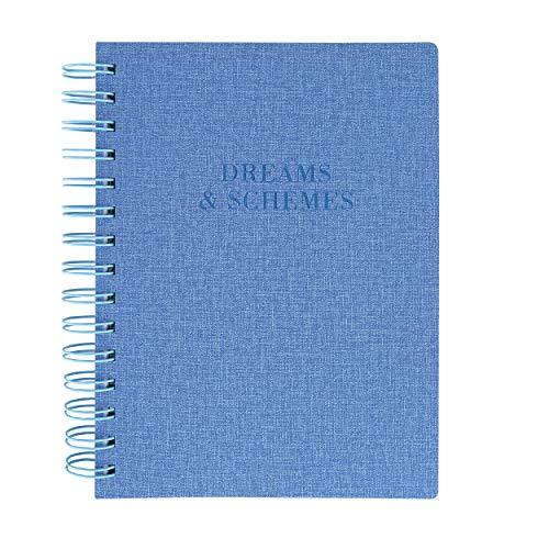 Graphique Diário espiral de couro vegano, sonhos e esquemas – 15,24 cm x 20,32 cm, 192 páginas pautadas, citação de sonhos e esquemas na capa – perfeito para tomar notas, listas e mais