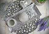 Sendez Dekoteller 37x15cm Dekotablett Schale Tablett Viereckig Silber Gold Metall Alu Deko Hammerschlag Optik (Silber) - 3