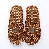 FENICAL Bamboo Slipper Straw Rattan Flip Flops Household Anti-Slip Bath Spa Sandal for Women Men Brown