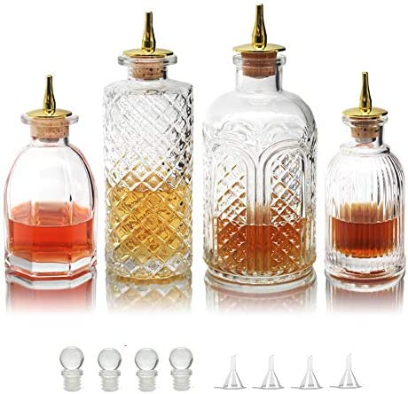 Bitters Bottle for Cocktails Glass Bitters Bottle with Stainless Steel Dash Antique Design Professional product image
