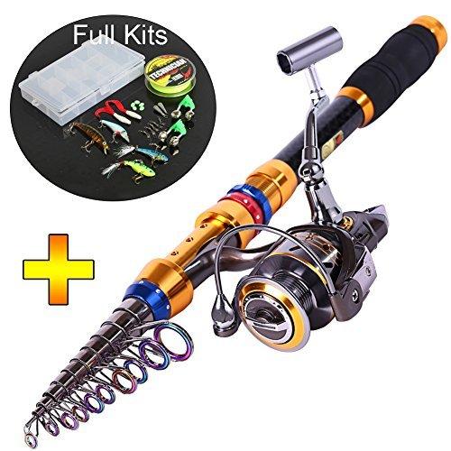 Sougayilang Telescopic Saltwater Freshwater Fishing Rod and Reel Combos Travel Fishing Pole Kit (3.6m/11.5ft+DK4000+Full Kits)