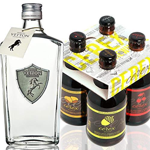 CEREX – Pack 4 Cervezas Artesanas + Ginebra Dry Premium Artesanal Spirito Vetton - Cerveza de Castaña, Cereza, Ibérica de Bellota y Pilsen - Pack Regalo - MEJOR GINEBRA DE ESPAÑA...