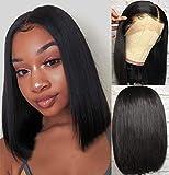 Brésilienne Perruque Bob Wig Human Hair Wigs Perruque Femme Cheveux Humain Droites Perruque 100 Naturelle 150 Densité Partie Centrale humain Glueless Bob 12pouces