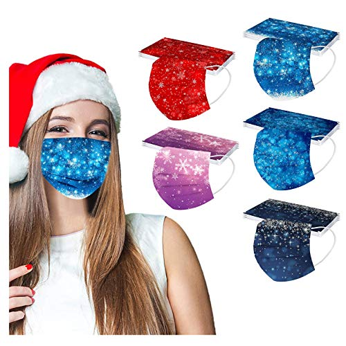 IRRIT 50PCS Adult Glitter Christmas Snowflake 3-Ply Disposable face_mask,Coronàvịrụs Protectịon,Breathable Non Woven Covers with Elastic Ear Loop, Effective Filtration,for Outdoor Activities