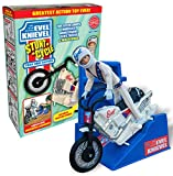 Evel Knievel Stunt Cycle - The Amazing Wind Up & Go Action Toy - Ultimate Jumps, Crashes, & More - 8' Bike Launches 3' to 10' - Original 1970's White Motorcycle Compatible With Energizer Launcher