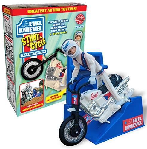 Evel Knievel Stunt Cycle - The Amazing Wind Up and Go Action Toy Launcher for Ultimate Jumps, Crashes, Flips and More - 8 Inch Bike Jumps Anywhere from 3 To 10 Feet - Original 1970's White Bike.