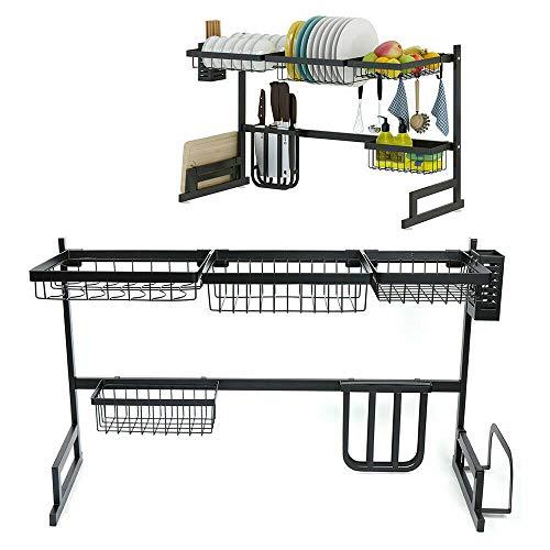 Escurreplatos de acero inoxidable para cocina, escurreplatos de 85 cm, con estante para palillos comensales, cesta para vajilla, cuenco para cuchillos, tabla de cortar, cesta cuadrada