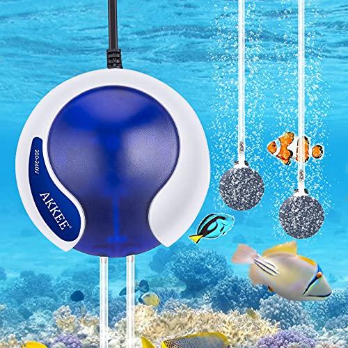 AKKEE Aquarium Luftpumpe Regelbar Super Leise <35dB Aquarium Pumpe, 4.5W 3000 ml/min Sauerstoffpumpe für Aquarium mit 2 Luftsteinen, 2 Silikonschlauch und 2 Rückschlagventil für Aquarien von 5-300 L
