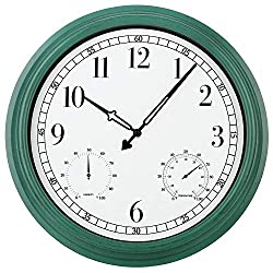 16 Inch Large Outdoor Clock,Vintage Waterproof Wall Clock with Thermometer and Hygrometer Combo,Battery Operated Quartz Silent Non-Ticking Clock Wall Decorative-Green