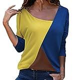 MORCHAN Mode Femmes Casual Patchwork Couleur Bloc O-Cou à Manches Longues T-Shirt Blouse Top(FR-42/CN-L,Bleu)