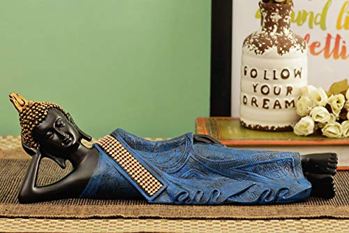 TIED RIBBONS Sleeping Buddha Statue Figurine with Antique Finish for Home Garden Decoration