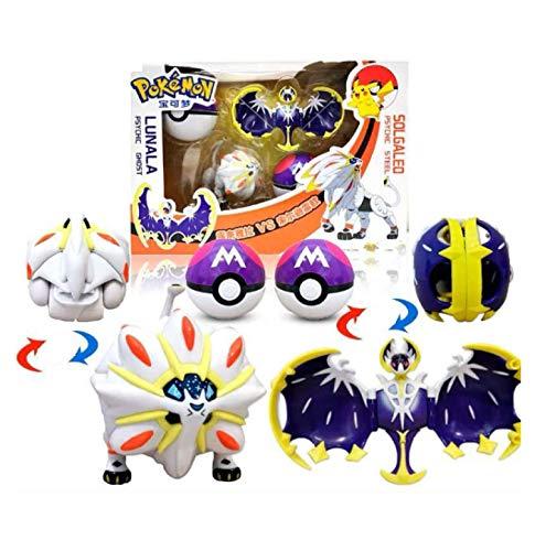 2Stücke / Sets Pokemon Figuren Set, Das Pokeball Spielzeug Solgaleo Lunala Modell Geschenkspielzeug Für Kinder 6-8Cm
