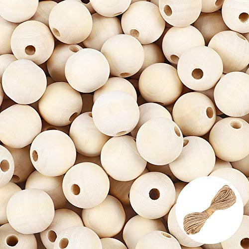 UOONY 300pcs 20mm Wooden Beads for Crafts, Round Natural Unfinished Wooden Loose Beads, Christmas Tree Garland Making, Wood Spacer Beads for Crafts, Necklace Garland Making