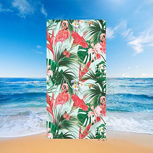 Sticker Superb Toallas de Playa Secado Rápido Absorción de Agua Extra Microfibra Flores Rosas Hoja Verde Piña Acuarela Tucán Flamenco Motivo Toalla de Baño Cuadrada Multicolor (Color 7,70 x 150 cm)