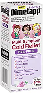 Dimetapp Children's Multi-Symptom Cold Relief Dye-Free Grape Flavored Liquid, 4 Fluid Ounce