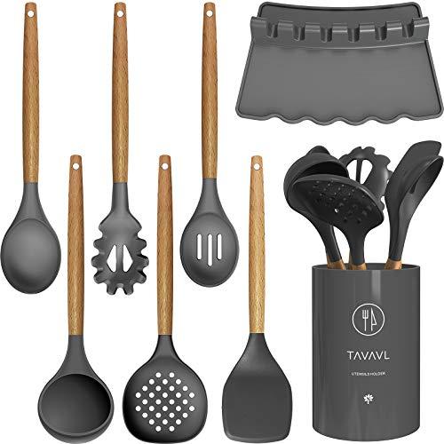Silicone Cooking Utensils - Kitchen Utensil Set with HolderSlottedSolid SpoonTurnerSpatulaPasta serverDeep Soup LadleWooden Handles Kitchen Gadgets Tools SetNon-Stick Cookware Friendly Grey