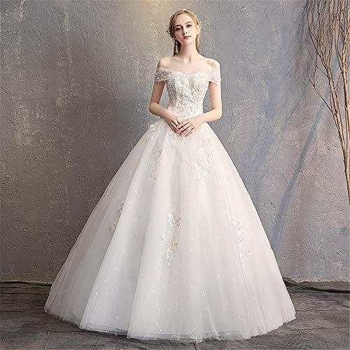 KPOON Vestido de Novia Vestidos de Novia for Mujer Corte de Lujo Palabra Hombro Encaje Delgado Adelgazante Vestido de Novia Blanco Vestido de Novia de fantasía (Color : White, Size : XL)