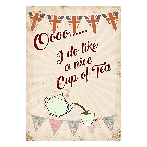 Etch-It-England Cup of Tea Vintage Classic Kitchen Garden Garage Metal Wall Garage Sign Garden Shed Plaque Tin (A4 (200x285mm) Approx) (A4 (200x285mm) Approx)
