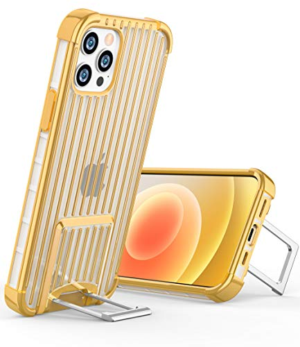 OCYCLONE [Suitcase Series] for iPhone 12 Pro Case/iPhone 12 Case, [Two-Way Stand] Anti-Slip Anti-Scratch Shockproof Protective Soft Phone Case with Kickstand for iPhone 12/12 Pro 5G 6.1 inch - Gold