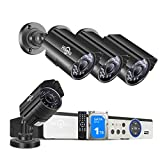 5MP Wired Security Camera System, 8 Channel Surveillance DVR Kit with 4 Outdoor Waterproof Security Camera, 1TB HDD, Human Detect, Motion Alerts, No Monthly Fee