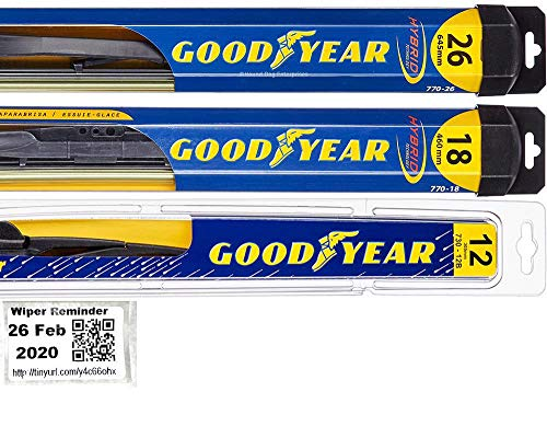 Windshield Wiper Blade Set/Kit/Bundle for 2014-2019 Mitsubishi Outlander - Driver, Passenger Blade & Rear Blade & Reminder Sticker (Hybrid with Goodyear Rear)
