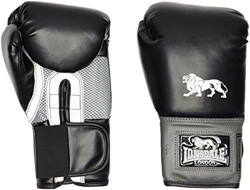 Lonsdale Erwachsene Jab Boxhandschuh, schwarz/Grau, 16 oz