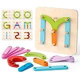 Coogam Números de Madera y Letras Kit de Construcción Forma de Juguete...
