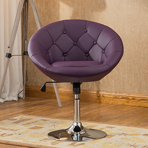 Roundhill Furniture Noas Contemporary Round Tufted Back Tilt Swivel Accent Chair, Purple