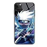 Sasuke Kakashi Call Led Flash Luminescent Glass case for iPhone 12 Mini, 12/12 Pro, 12 Pro Max, Naruto Anime Comic Theme Case Anti-Scratch Mobile Phone Glass Cover (Kakashi, iPhone 12/12 Pro)