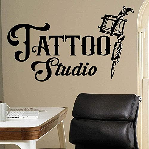 Etiqueta de la pared de vinilo decoración de la pared Tattoo Studio Logo Company Logo Art Tattoo Machine Window impermeable 52X75Cm