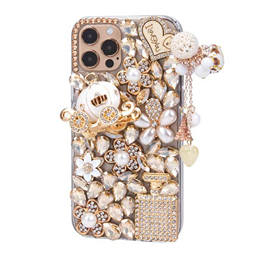 iFiLOVE for iPhone 12 Pro Max Bling Case, Girls Women 3D Luxury Sparkle Glitter Diamond Crystal Rhinestone Pumpkin Car Charm Pendant Protective Case Cover for iPhone 12 Pro Max 6.7 inch (Champagne)