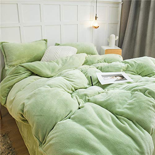 Super King Duvet Cover Set with,Four-piece thick flannel bed solid color coral fleece winter double-sided fleece warm crystal quilt cover-Light green_2.0m bed 220 * 240cm 4pcs