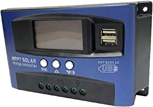 MPPT LADING BOARD Controller, Solar Charge Controller Dual USB LCD-display 12V 24V (blauw, 100A)