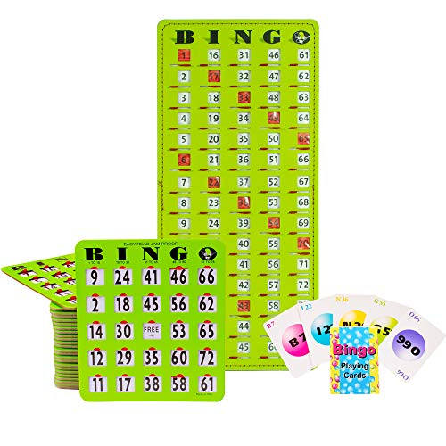 MR CHIPS Jam-Proof Bingo Cards with Sliding Windows, 25 Green Easy Read Bingo Shutter Cards, 75 Bingo Calling Cards, 1 Bingo Master Board