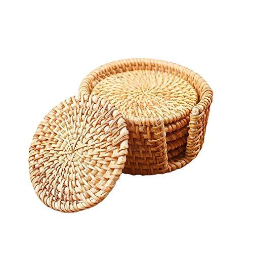 6 stücke gewebt Rattan-Untersetzer Tischsets Handgefertigte wärmeisolierende Kaffee-Getränk-Tasse Tischsets mit Lagerhalter für Wohnkultur (Color : Green)