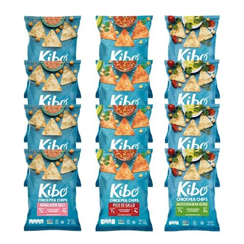 Kibo Chickpea Chips - Gluten Free and Plant-Based, Non-GMO, Kosher + Vegan. 3 Flavor Variety Pack, 1 oz. 12 pack.